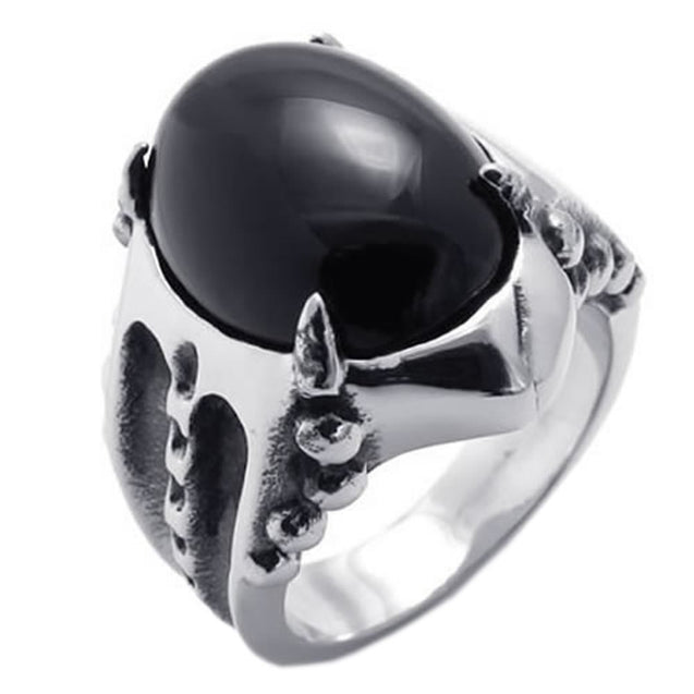 Vintage Stainless Steel Gothic Dragon Claw Biker Men Ring, Oval Agate - InnovatoDesign