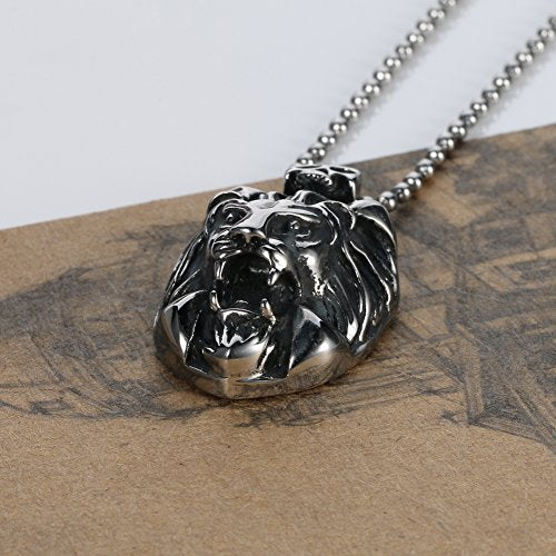 Men's Stainless Steel Lion Style Pendant,with 24 Inch in Ball Chain