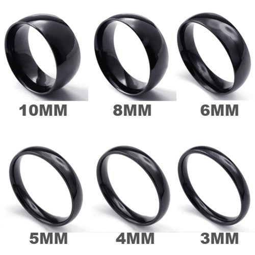Men Women Stainless Steel Ring, 2mm, Comfort Fit Band, Black