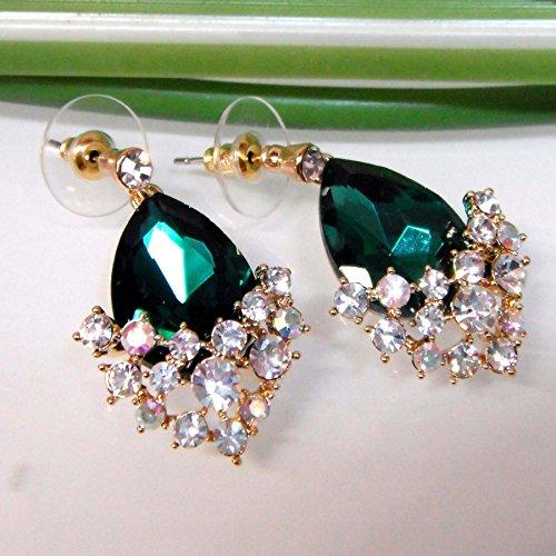 18k Gold Plated Crystal Green Pear-shaped Zirconia Az1348d Drop Dangle Earrings
