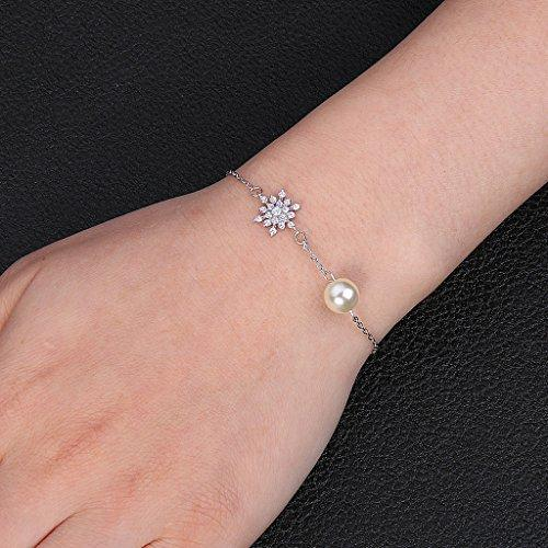 925 Sterling Silver CZ Cream Simulated Pearl Winter Snowflake Link Bracelet Clear