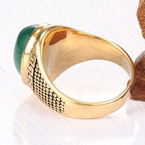 18K Gold Plated Stainless Steel Vintage Green emerald Ring For Men,Green Gold