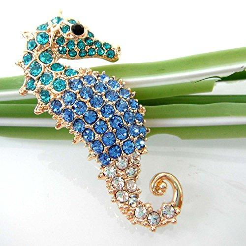 18k Gold Plated Blue Crystal Hippocampus Az7272b Brooch Pin