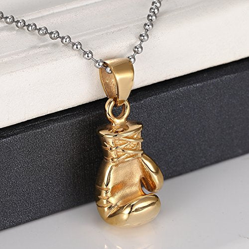 Men's Fashion Punk Style Vintage Retro Titanium Stainless Steel Gold Fist Pendant Necklace