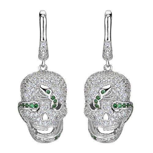 925 Sterling Silver CZ Halloween Gothic Girl Skull Green Snake Dangle Earrings Clear
