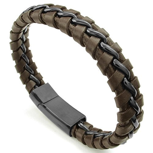 Men Leather Stainless Steel Bracelet, Braided Bangle, Brown Black - InnovatoDesign