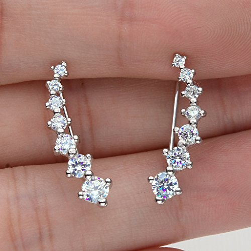 Sterling Silver Cubic Zirconia Round Long Ear Sweep Cuff Wrap Hook Earrings Clear - InnovatoDesign