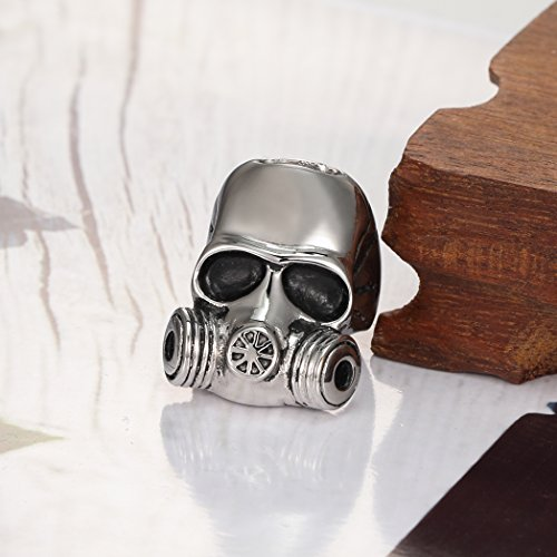 Men's Stainless Steel Gothic Crime Bicycle Skull Gas Mask Jewelry Ring