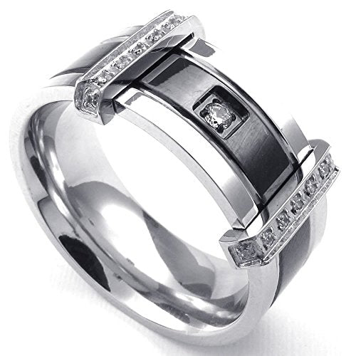 Men Cubic Zirconia Stainless Steel Ring, Charm Elegant Wedding Band, Black - InnovatoDesign