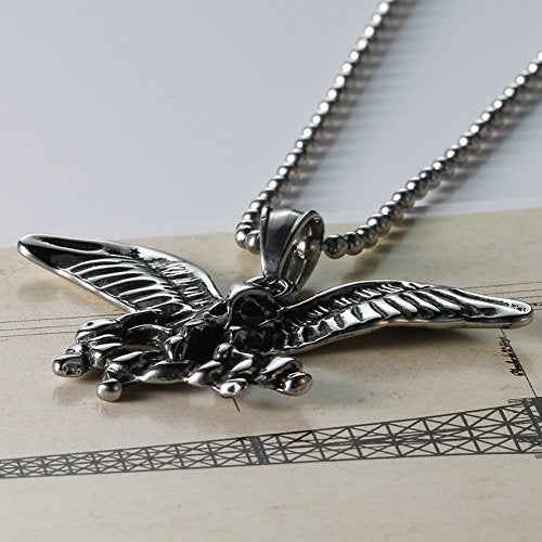 Men's Stainless Steel Silver Black Animal Eagle Gothic Bike Pendant Necklace 24''chain
