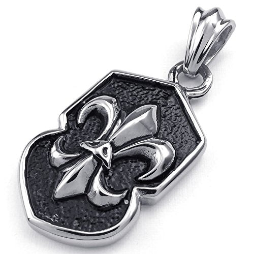 Men Gothic Fleur De Lis Stainless Steel Pendant Necklace, Black Silver, 24 inch Chain - InnovatoDesign