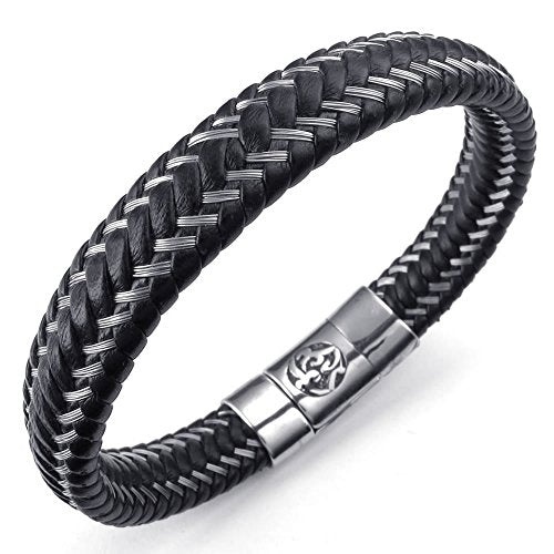 Men Leather Stainless Steel Bracelet, Masonic Clasp Cuff Bangle, Black Silver - InnovatoDesign