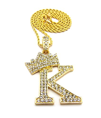 Iced Out King Crown Alphabet Initial K Pendant 24 Various Chain Necklace in Gold, Silver Tone - InnovatoDesign