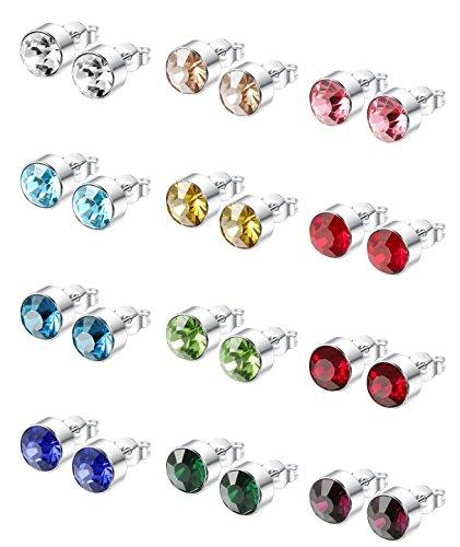 12 Pairs Stainless Steel Womens Stud Earrings for Men Cubic Zirconia Earrings,4-8mm Available