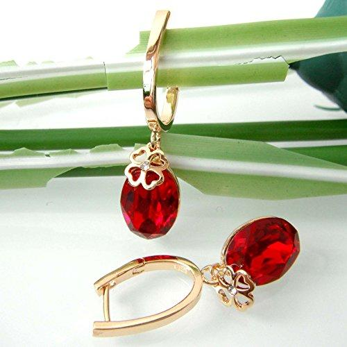 18k Gold Plated Oval Red Zircon Crystal Leveaback Earrings