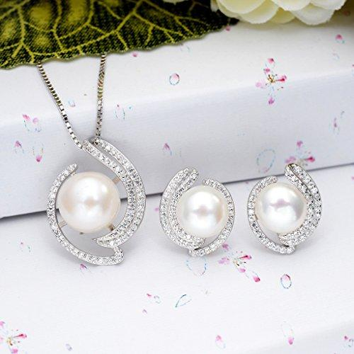 925 Sterling Silver CZ AAA Freshwater Cultured Pearl Floral Necklace Stud Earrings Set Clear