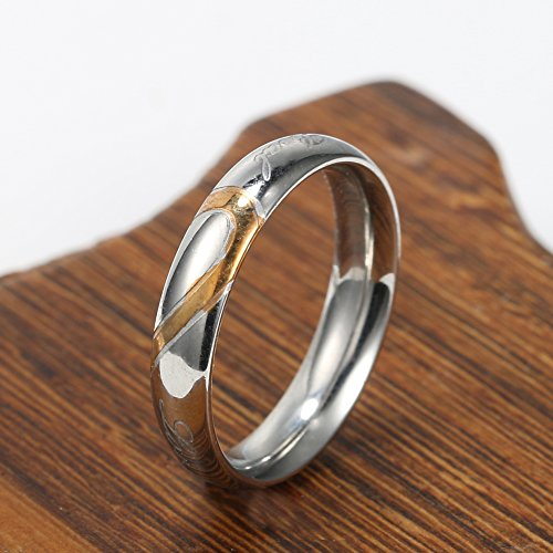 "Jewelry Men's Women's ""Real Love"" Heart Stainless Steel Band Ring Valentine Love Couples Wedding Engagement Promise Band Ring"