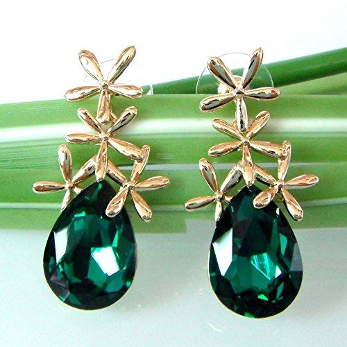 18k Gold Plated Crystal Leaves Green Pear-shaped Zirconia Az1505d Drop Dangle Earrings