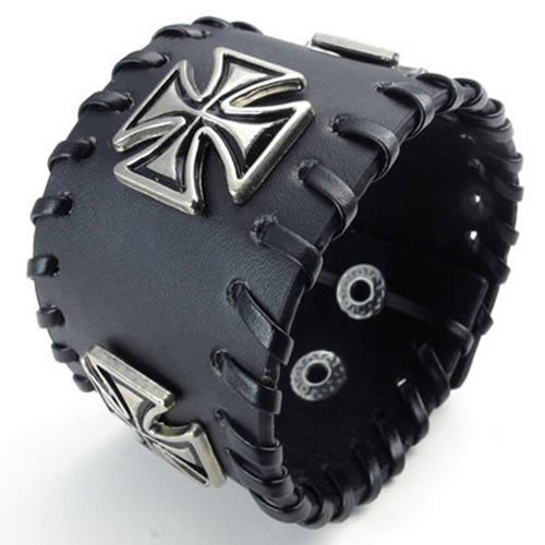 "Wide Leather Cross Men Bangle Cuff Bracelet, Punk Rock, Fits 7"" to 8"", Black Silver - InnovatoDesign"