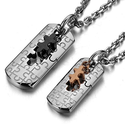Men,Women's 2PCS Stainless Steel Pendant Necklace Jigsaw Puzzle Couple -With 20 and 23 Inch Chain - InnovatoDesign