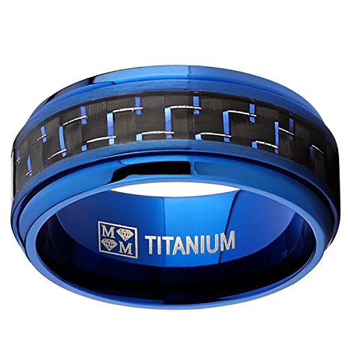 Men's Blue Titanium Wedding Bands Ring With Black and Blue Carbon Fiber Inlay, 9MM Comfort Fit - InnovatoDesign