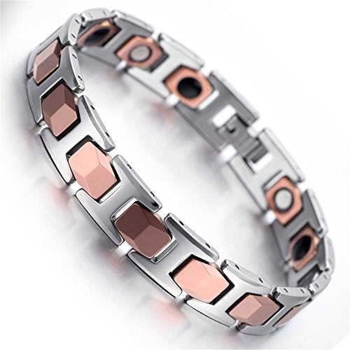 Men Tungsten Bracelet, Silver, Rose Gold, Heavy, 7.87 - InnovatoDesign