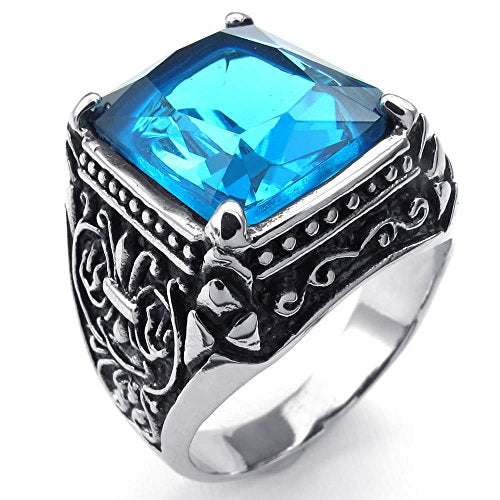 Men Crystal Stainless Steel Ring, Classic Gothic, Blue - InnovatoDesign