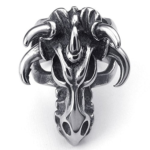 Men Stainless Steel Ring, Gothic Biker Devil Skull Halloween, Black - InnovatoDesign