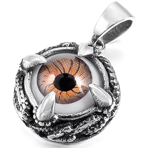 Black Brown Skull Dragon Stainless Steel Pendant Necklace Silver Tone Claw Evil Eye