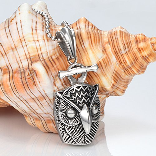 Men's 316L Stainless Steel Animal Owl Pendant with 24 Inch Stainless Steel Chain Necklace