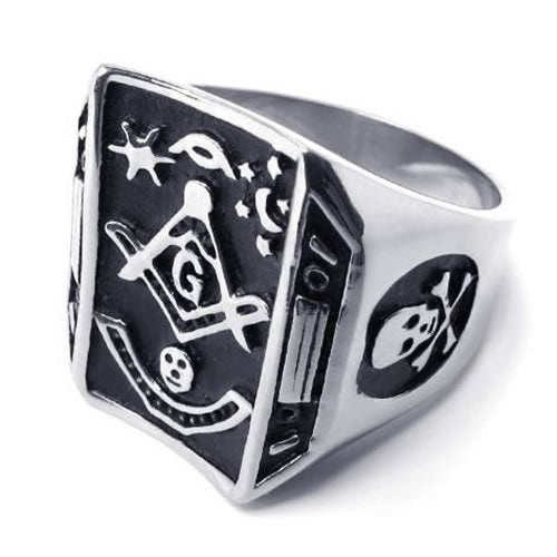 Men Stainless Steel Skull Freemason Masonic Ring - InnovatoDesign