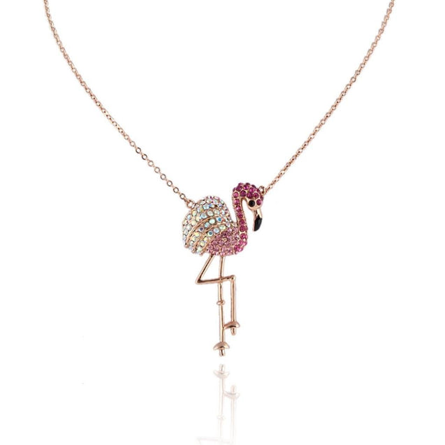 Flamingo Pink Austrian Crystal Pendant Necklace Gold-Tone