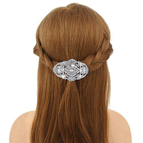 1920's Style Bride Hair Barrette Art Deco Clear Austrian Crystal Silver-Tone
