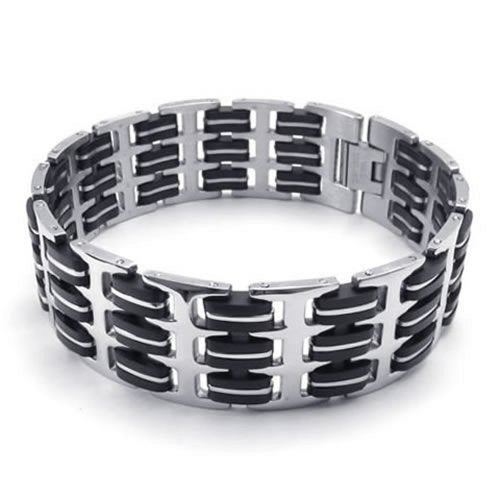 Wide Men Bangle Bracelet, Stainless Steel Rubber, Black Silver - InnovatoDesign