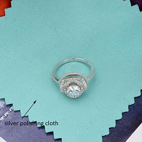 925 Sterling Silver Rose Flower 4 Claw Setting .25ct CZ Engagement Ring Clear
