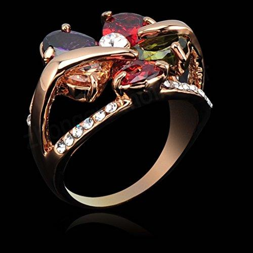 18k Gold Plated Flower Multi-color Zirconia Crystal Az0217r Ring (Available in Sizes 7 8 9)