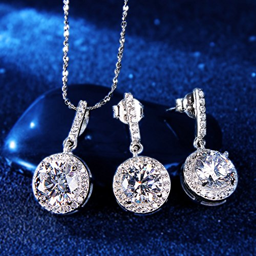 Sterling Silver CZ Gorgeous Round Cut Wedding Pendant Necklace Earrings Set - InnovatoDesign