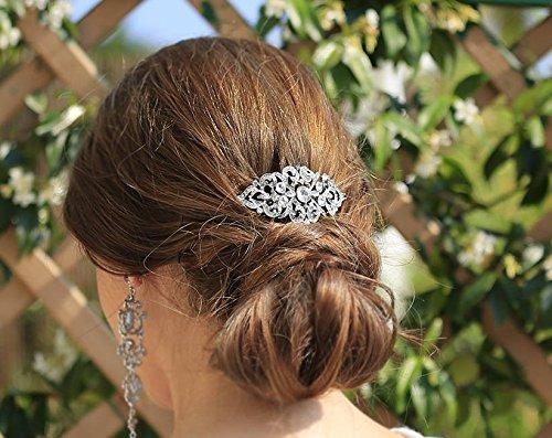 Art Deco Wave Bridal Hair Side Comb Clear Austrian Crystal