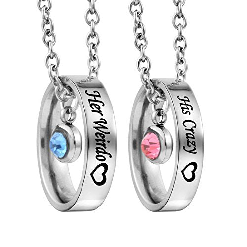 Rhinestone Her Beauty His Beast Heart Ring Pendant Couple Necklace Set - InnovatoDesign