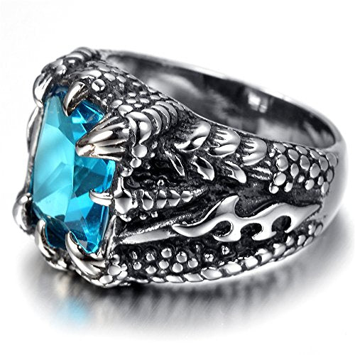 Jewelry Men Stainless Steel Ring, Biker, Silver, Blue Crystal - InnovatoDesign