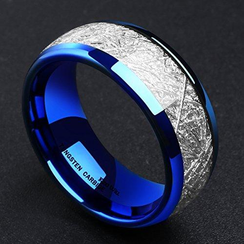 8mm Blue Tungsten Carbide Ring Meteorite Inlay Domed High Polished Wedding Band Comfort Fit