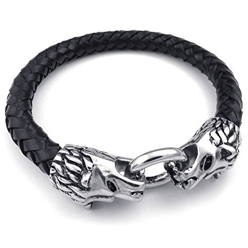 Men Leather Stainless Steel Bracelet, Lion Braided Cuff Bangle, Black Silver - InnovatoDesign