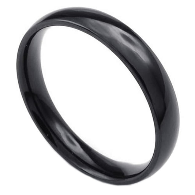 Men Women Stainless Steel Ring, 4mm, Comfort Fit Band, Black