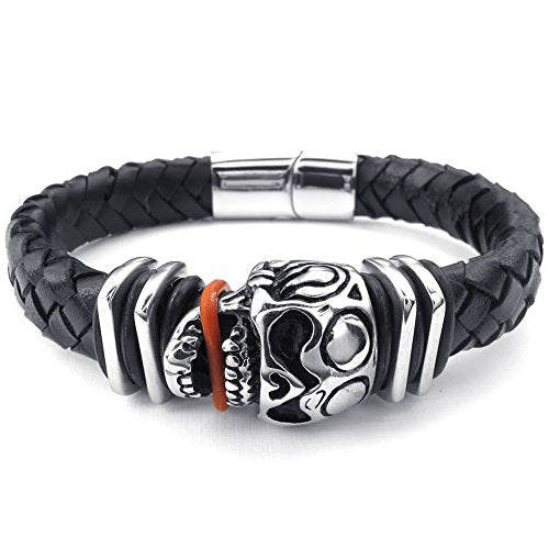 Men Leather Stainless Steel Bracelet, Skull Tribal Braided Bangle, Black Silver - InnovatoDesign
