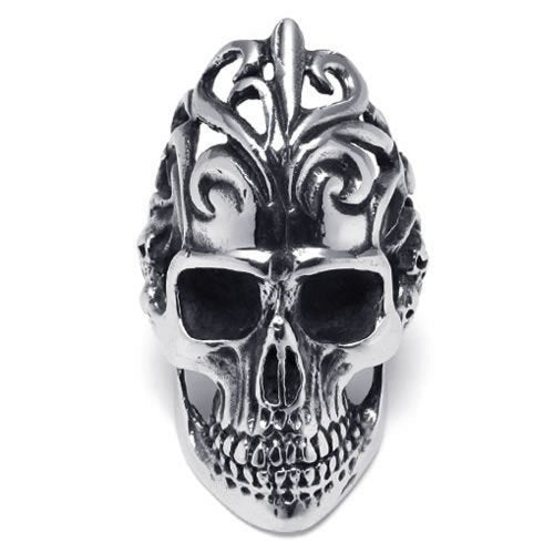Large Biker Men Gothic Skull Stainless Steel Ring