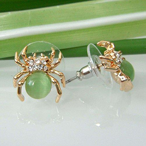 18k Gold Plated Green Opal Crystal Spider Az2405s Stud Earrings