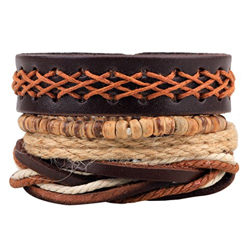PU Leather Hemp Cords Beaded Multi Strands Woven Wrap Bracelets Set of 4 Brown - InnovatoDesign
