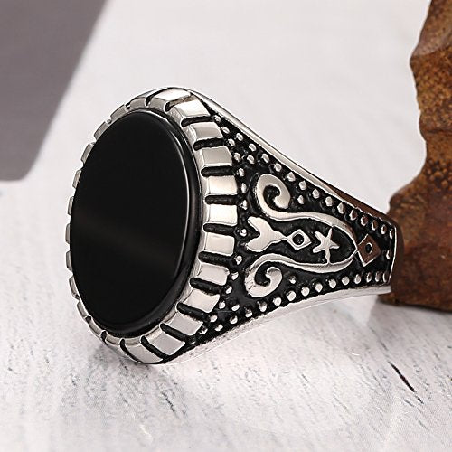 Men's Stainless Steel Gem Gothic Biker Vintage Ring , Classic Circle,silver Black - InnovatoDesign