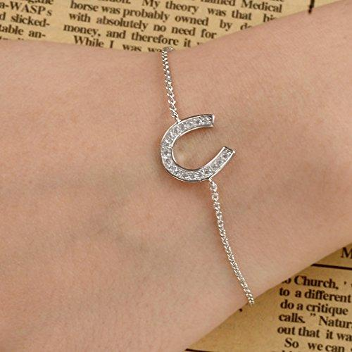 925 Sterling Silver Gorgeous Pave CZ Lucky Horseshoe Adjustable Link Bracelet Hand Chain Clear