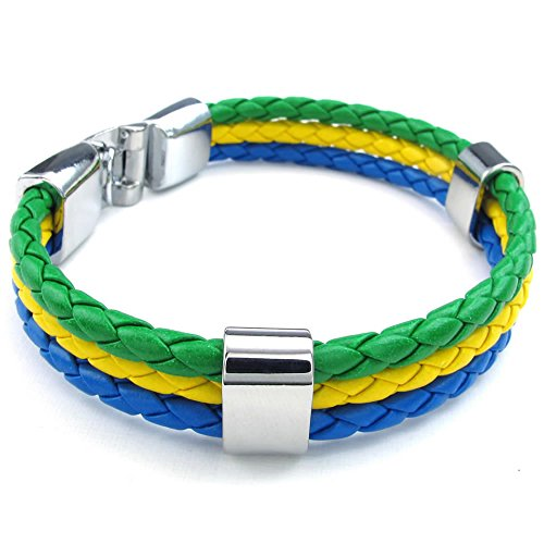 "Men Feather Bracelet, Brazilian Brazil Flag Cuff Bangle, Green Yellow Blue, 8"" 8.5"" 9"""